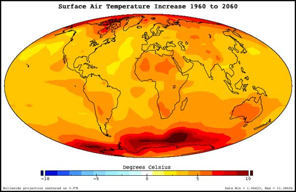 NASA Prediction of temperature increase 1960 to 2060