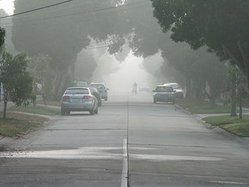 Fog or smog on residential street