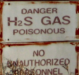 Warning Sign for H2S Gas