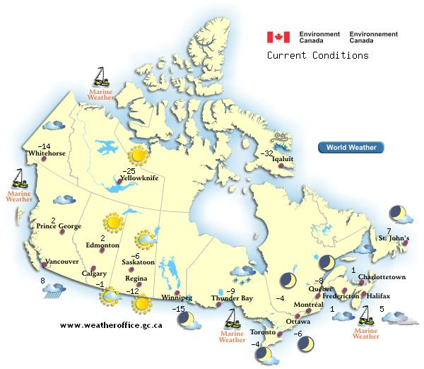 Canada Forecast Map Enviroment Canada Weather   See YOUR Forecast