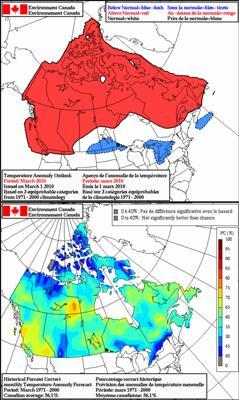 Canada - 30 day temperature forecast (March 2010)