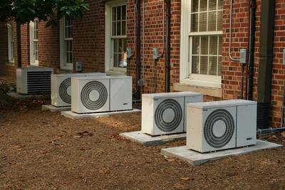 Air conditioners all in a row