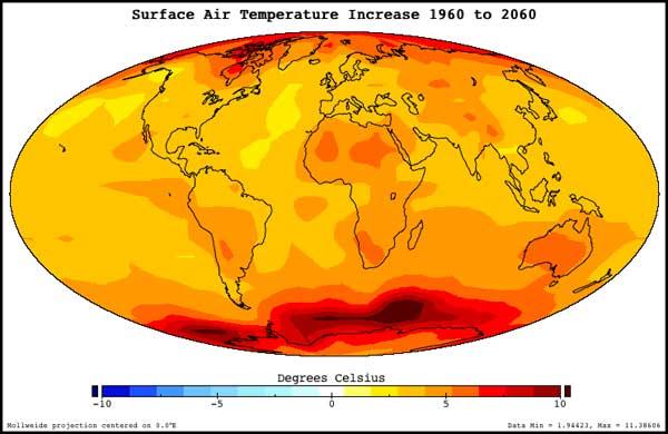 NASA Prediction of temperature increase 1960 to 2060
