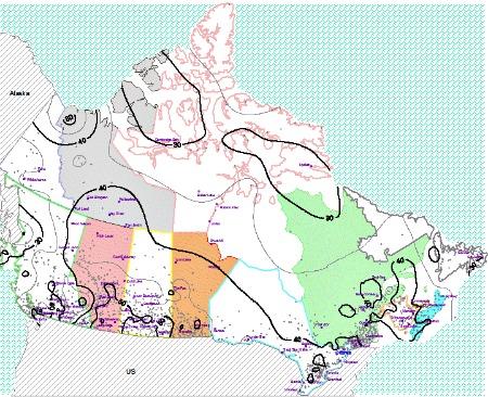 Canada Annual Average Sunshine Percent